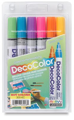 Decocolor Paint Marker - Hot Colors, Set of 6, Broad Tip