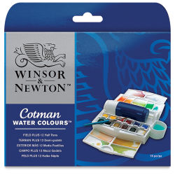 Winsor & Newton Cotman Watercolor Set - Field Plus Set of 12 Half Pans