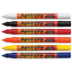 Molotow One4All Acrylic Markers - Set of 6, 2mm Round Nib