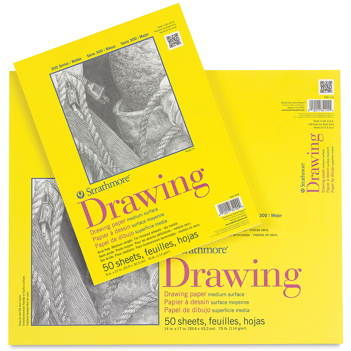 11 x 14 279mm x 356mm Strathmore Artist Papers 300 Series Drawing Paper Pad