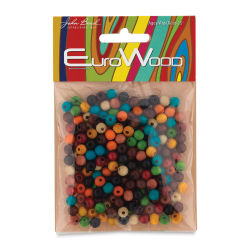 John Bead Euro Wood Beads - Multicolor, Round, 6 mm, Pkg of 200
