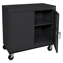 Mobile General Storage Cabinet - Black, 36'' x 24'' x 36''