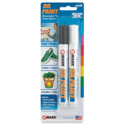 U-Mark Dr. Paint Reversible Tip Paint Markers - Set of 2, Black/White