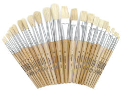 24 Piece White Bristle Brush Assortment