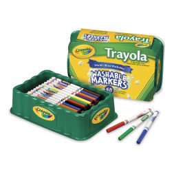 Crayola Trayola Washable Markers - Assorted Colors, Fine Tip, Set of 48