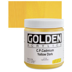 Golden Heavy Body Artist Acrylics - Cadmium Yellow Dark, 8 oz Jar