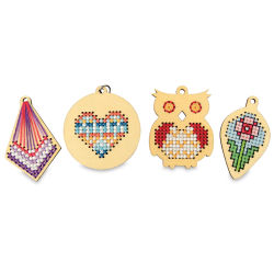Cross Stitch Style Wood Charms - Pkg of 4