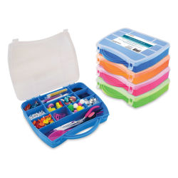 "Craft Medley Organizer Box with Handle - Assorted Colors, 7-1/4"" W x 9-1/4"" L"