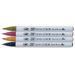 Kuretake Zig Clean Color Real Brush Pen Set - Deep Colors, Set of 4 (set contents)