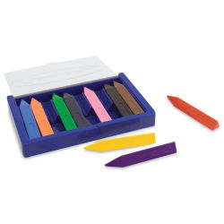 Melissa & Doug Triangular Crayons - Jumbo, Set of 10, Assorted Colors (Crayons in and out of case)