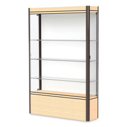 Waddell Contempo Series Display Case - White, Light Maple Base with Dark Bronze Frame, Full