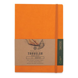 Pentalic Recycled Traveler's Sketchbook - 8-1/4'' x 5-7/8'', Orange