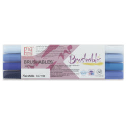 Zig Brushables Dual Tip Markers - Set of 4, Blues