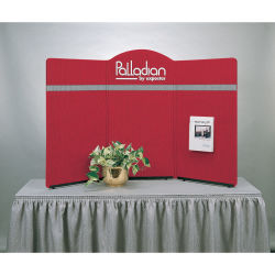 Expostar Tabletop Display - 3 Panel Display, Red with Silver Gray Stripe