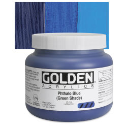 Golden Heavy Body Artist Acrylics - Phthalo Blue (Green Shade), 32 oz Jar