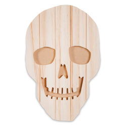Unfinished Wood Carved Skeleton Face