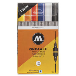 Molotow One4All Acrylic Twin Markers - Basic Colors 1, Set of 6