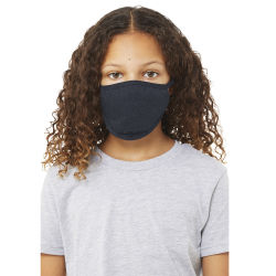 Bella Canvas Kids Reusable Face Mask - Navy, Package of 5, Shown in use.