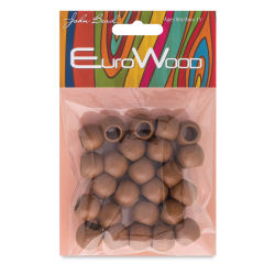John Bead Euro Wood Beads - Coffee, Round, Large Hole, 14 mm x 11 mm, Pkg of 25