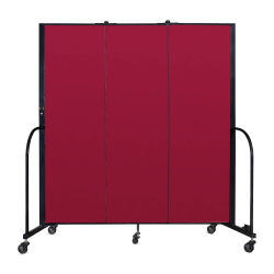 Screenflex Portable Room Dividers - 6 ft, Red,  3 Panel