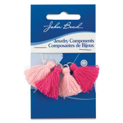 John Bead Cotton Tassels - Rosewater and Fushcia, Pkg of 4