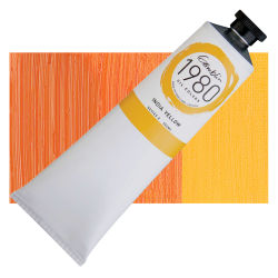 Gamblin 1980 Oils - India Yellow, 150 ml, Swatch with Tube