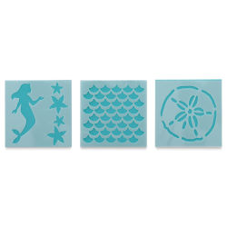 Plaid Fabric Creations Adhesive Stencil - Mermaid, 3 Stencils, 3'' x 3''