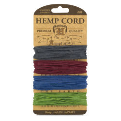 Hemptique Hemp Cord Card - 120 ft, 20 lb, Earthy Pastel Colors