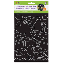Krafty Kids DIY Scratch Art Picture Set - Dino Pals, 3 Sheets (In packaging)