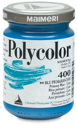 Maimeri Polycolor Vinyl Paints - Primary Blue - Cyan, 140 ml jar