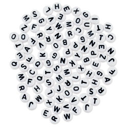 Craft Medley Alphabet Beads - White with Black Letters, Package of 90
