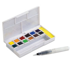 Inktense Paint Pan Travel Set, Palette 01 Open Package with Colors and Pen