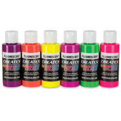 Createx Airbrush Color - 2 oz, Set of 6, Fluorescent