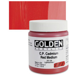 Golden Heavy Body Artist Acrylics - Cadmium Red Medium, 4 oz Jar