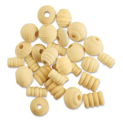 Krafty Kids Wood Beads - Fancy, Unfinished, Package of 28