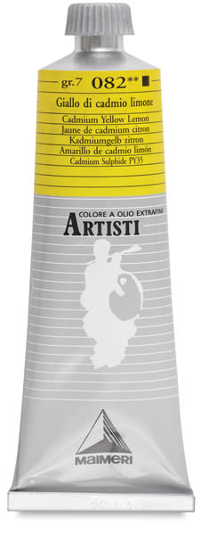Maimeri Artisti Oil Color - Cadmium Yellow Lemon, 60 ml tube