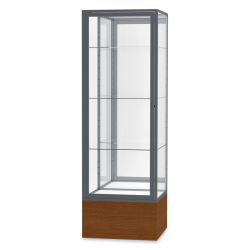 Waddell Keepsake Series Display Case - 24'' x 72'' x 24'', Carmel Oak/Satin, Mirror Back