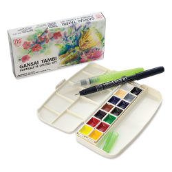 Kuretake Gansai Portable Watercolor Set - Set of 14, Assorted Colors, Half Pans