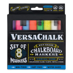 VersaChalk Liquid Chalk Markers - Set of 8, Neon Colors, Bold