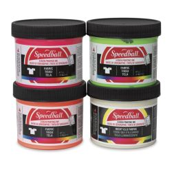 Speedball Water-Based Textile Screen Printing Ink - Fluorescent Colors, Set of 4, 4 oz