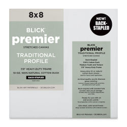"Blick Premier Cotton Canvas - Back-Stapled, 7/8"" Traditional Profile, 8"" x 8"""
