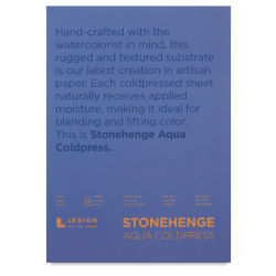 Legion Stonehenge Aqua Watercolor Block - Cold Press, 10'' x 14'', 140 lb, 15 sheets