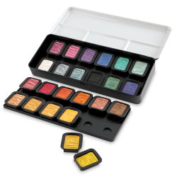 Finetec Artist Mica Watercolor - Pearlescent Set of 24. In package, two pans out of package.