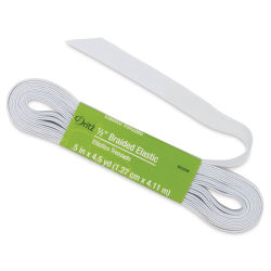 "Dritz Braided Elastic - White, 1/2"" X 4-1/2 yds"
