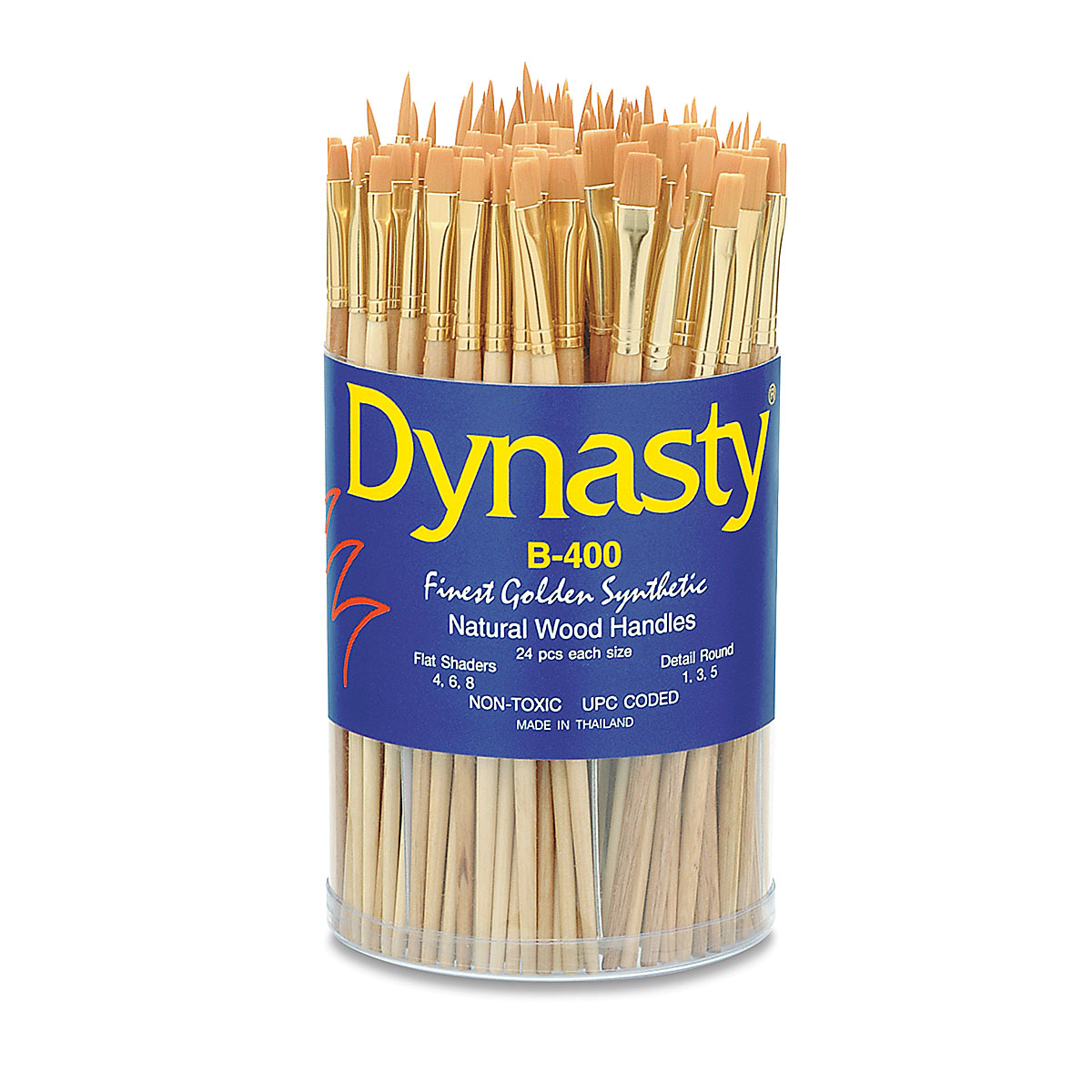 Dynasty Round Black Silver Synthetic Hair Long Handle Paint Brush Size 6