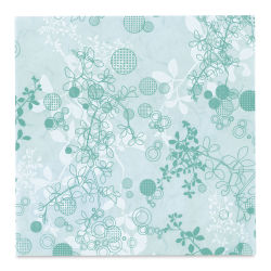 "Black Ink Thai Mulberry Screenprinted Chinaberry Decorative Paper - Aqua, 12"" x 12"""