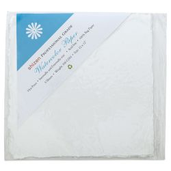 "Shizen Professional Watercolor Paper - 12"" x 12"", Hot Press, Pkg of 5 Sheets"