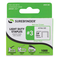 "Surebonder Light Duty Staples - 3/8"", Box of 1000, Front Of Package"