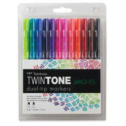 Tombow TwinTone Dual Tip Marker Set - Brights, Set of 12