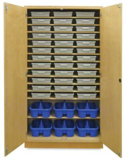 Storage Cabinet with 36 Certwood Tote Trays and 6 Tote Caddies